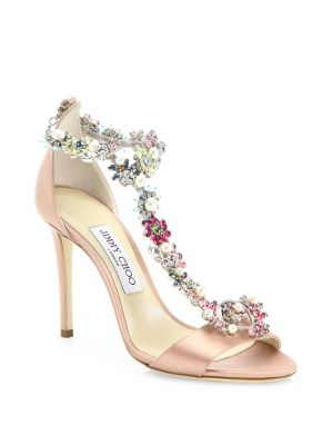 42d499e45132 Jimmy Choo Reign 100 Dusty Rose Satin Sandals With Camellia Mix Anklet In Dusty  Rose