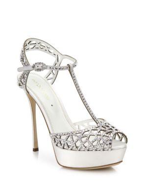 Sergio Rossi Crystal-embellished T-strap Sandal, White (bianco)