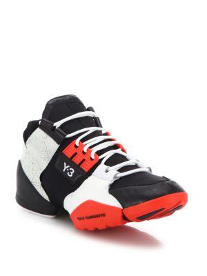 3135d4aaf Y-3 Kanja Neoprene   Leather Sneakers In Black