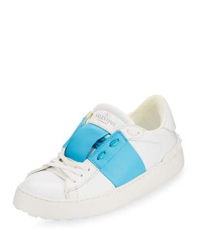 Valentino Colour-block Leather Low-top Trainers In White