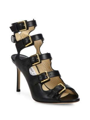 Jimmy Choo Trick 85 Black Shiny Leather Buckled Sandals