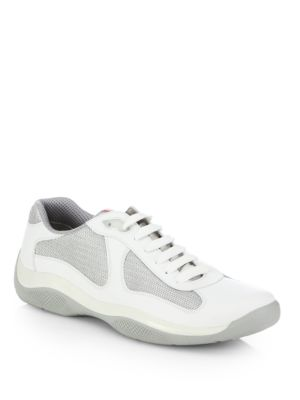 Prada Leather & Mesh Sneakers In White