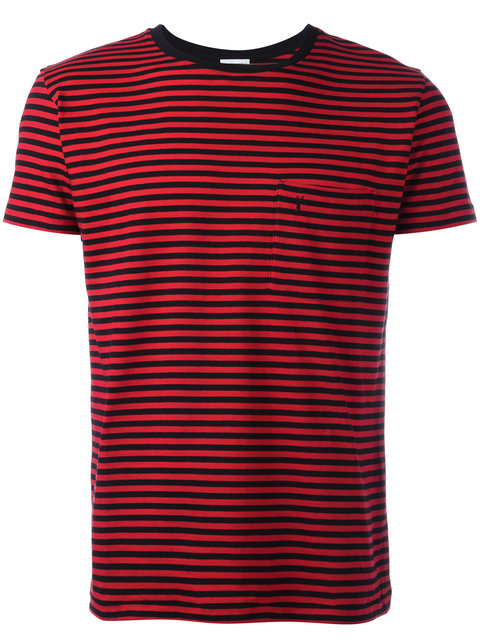 f015491b61c3 Saint Laurent Ysl Short Sleeve T-Shirt In Black And Red Striped Cotton  Jersey