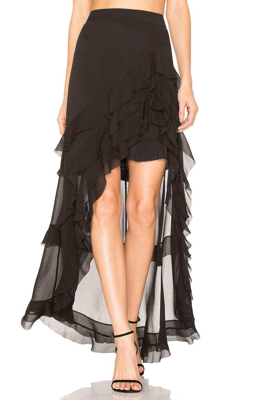 01463205a1 Alice And Olivia Lavera Layered Ruffle High-Low Maxi Skirt, Black ...