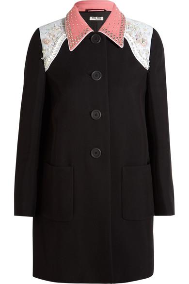 Miu Miu Embellished Cady Coat In Black