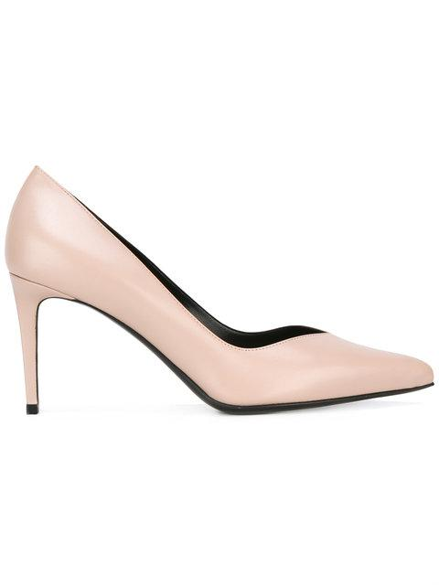 Saint Laurent 'paris Skinny' Pointy Toe Pump (women) In Pale Pink Leather