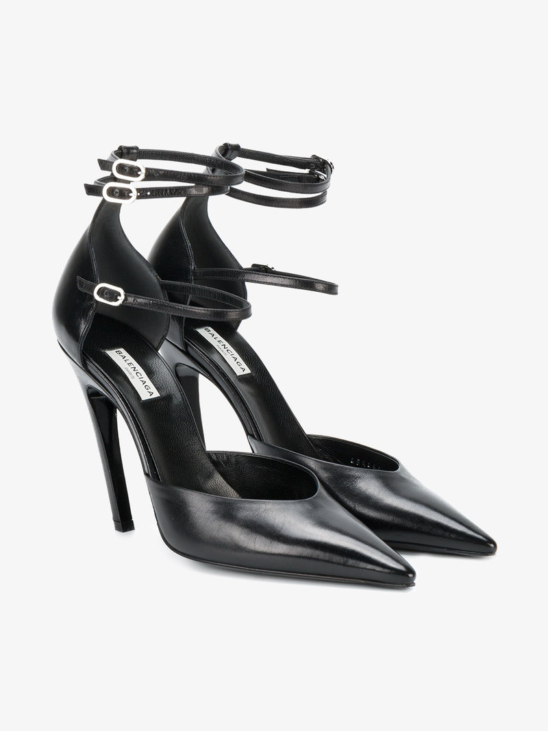 1385f03b1ddd Balenciaga Slash Triple-Strap Leather Pumps In Black