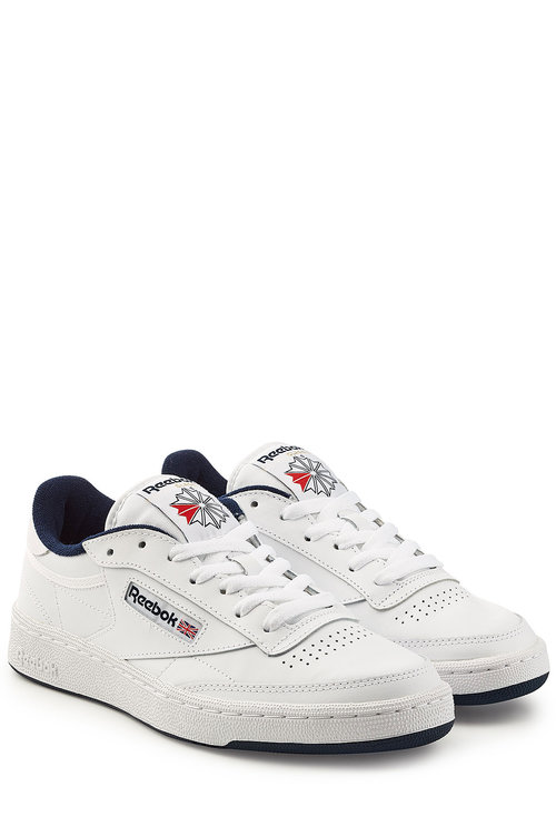 6fec4d4db30 Reebok Club C 85 Archive White Leather Sneaker With Blue Details ...