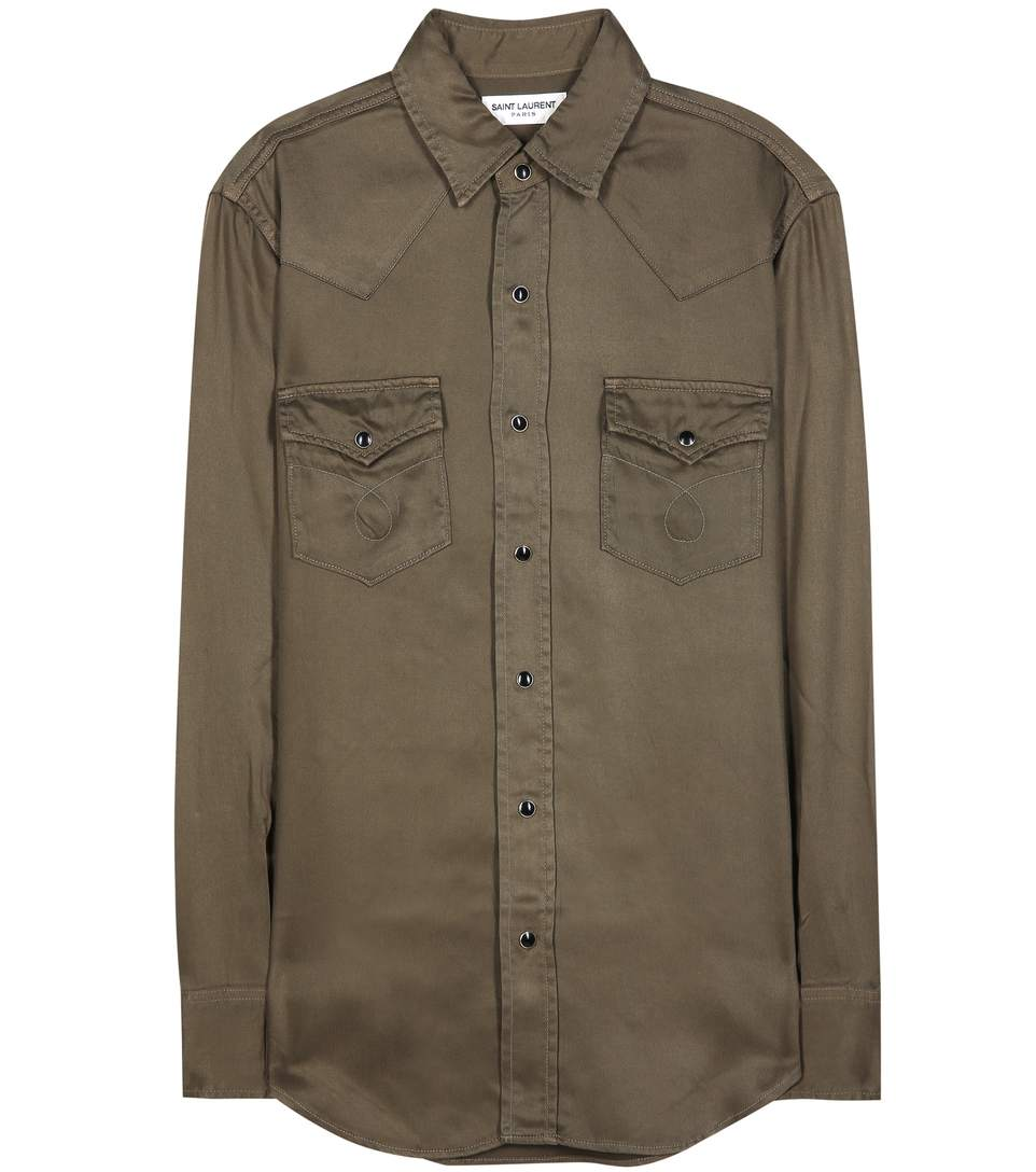 Saint Laurent Classic Western Shirt In Khaki Twill In Army Green