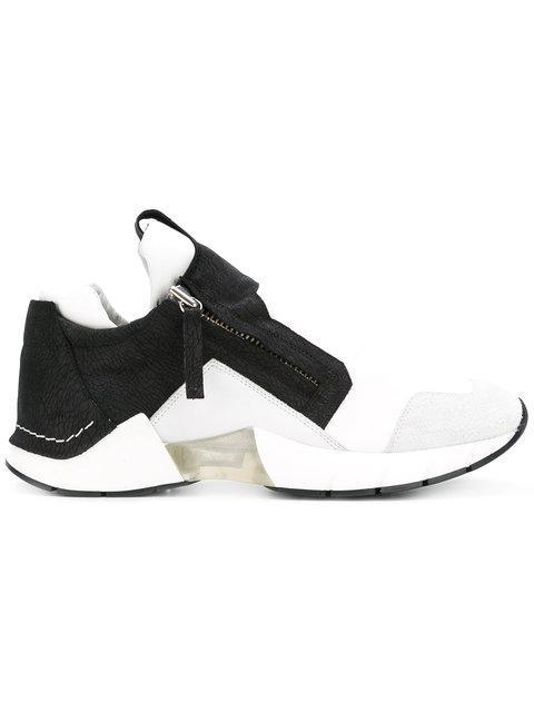 Cinzia Araia Mesh & Leather Running Sneakers In Black/white