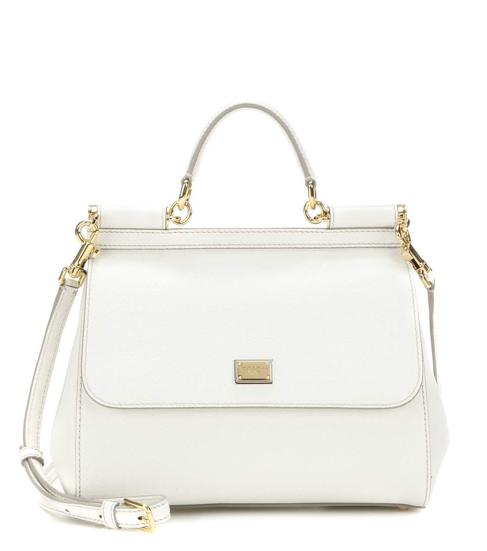 4cf229f382c Dolce & Gabbana Small Miss Sicily Lizard-Embossed Leather Top-Handle  Satchel In White