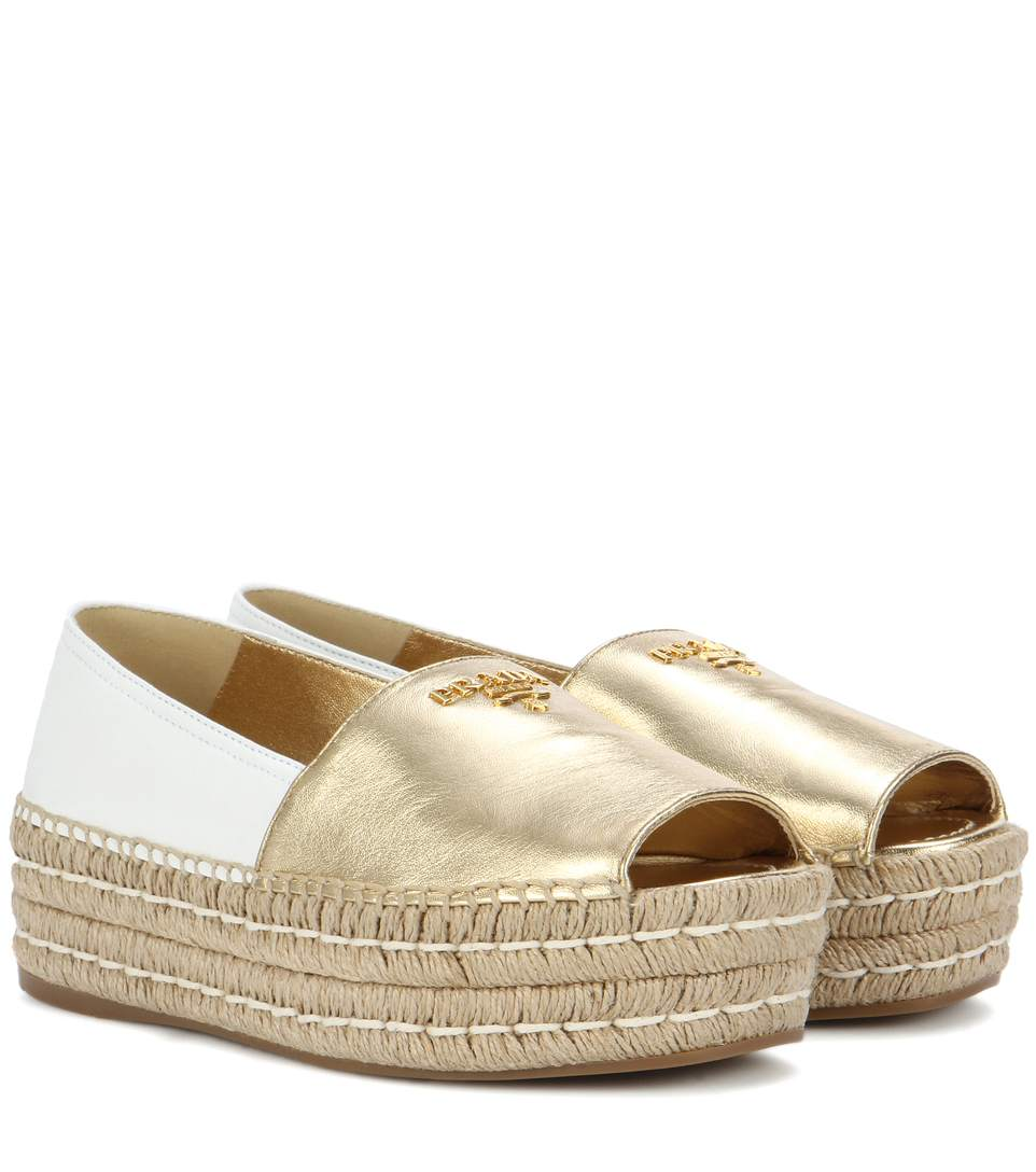 1371e1665d8c Prada Two-Tone Leather Peep Toe Platform Espadrilles In Gold