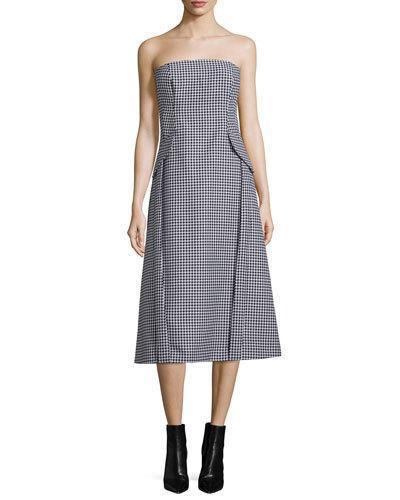 Michael Kors Strapless Bustier Dress W/pockets, Black/white