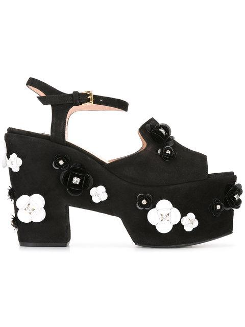 Boutique Moschino Embellished Platform Sandals In Black
