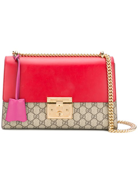 Gucci Padlock Gg Supreme Small Shoulder Bag, Beige/red In Pink