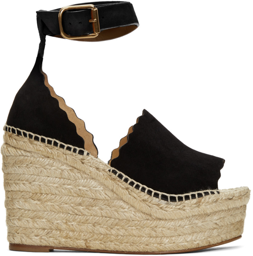 204ca875a4f ChloÉ Lauren Suede Ankle-Strap Espadrille Wedge Sandals In Black ...