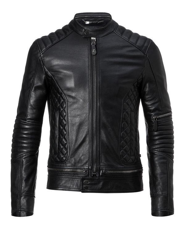 """Philipp Plein Leather Biker """"tiger"""" In Black"""