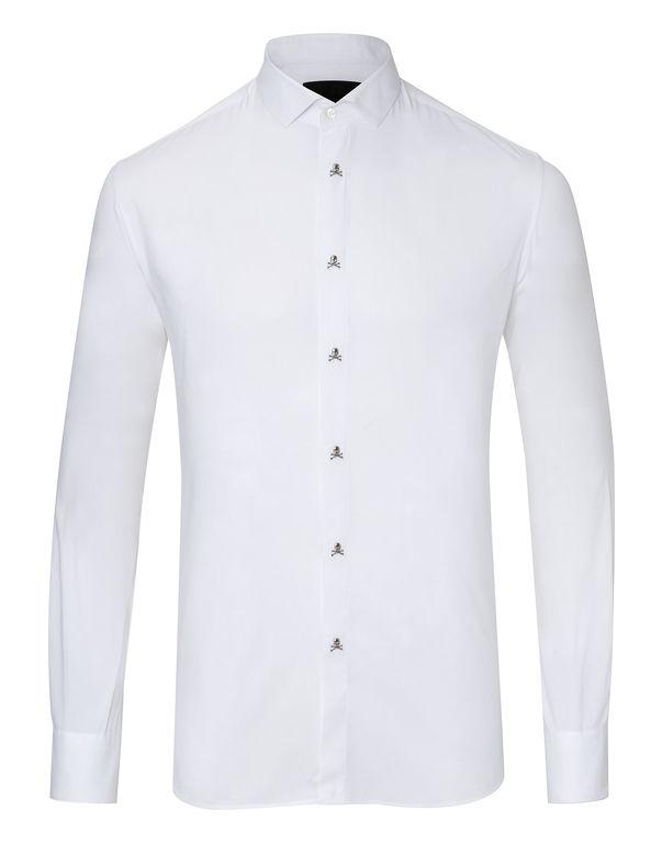 "Philipp Plein Shirt Platinum Cut Ls ""Bomb"" In White"