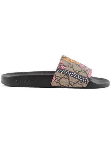 2461641a8 Gucci Pursuit Gg Supreme Slide Sandals, Multicolor In Bengal Print ...