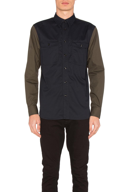 Rag & Bone 'jack' Colourblock Cotton Shirt In Navy