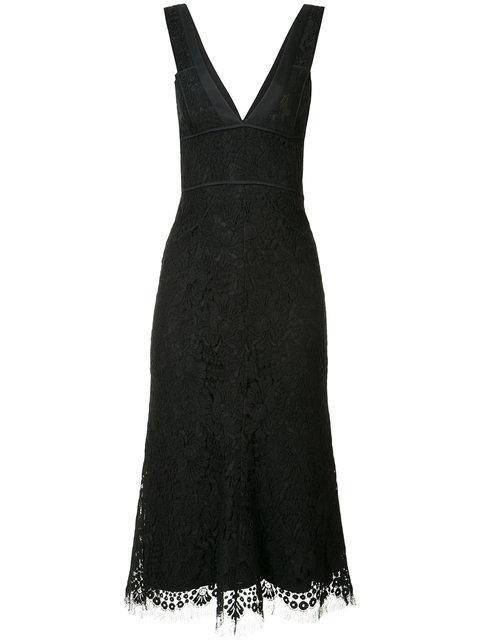 Victoria Beckham V-neck Lace Fitted Dress In Black