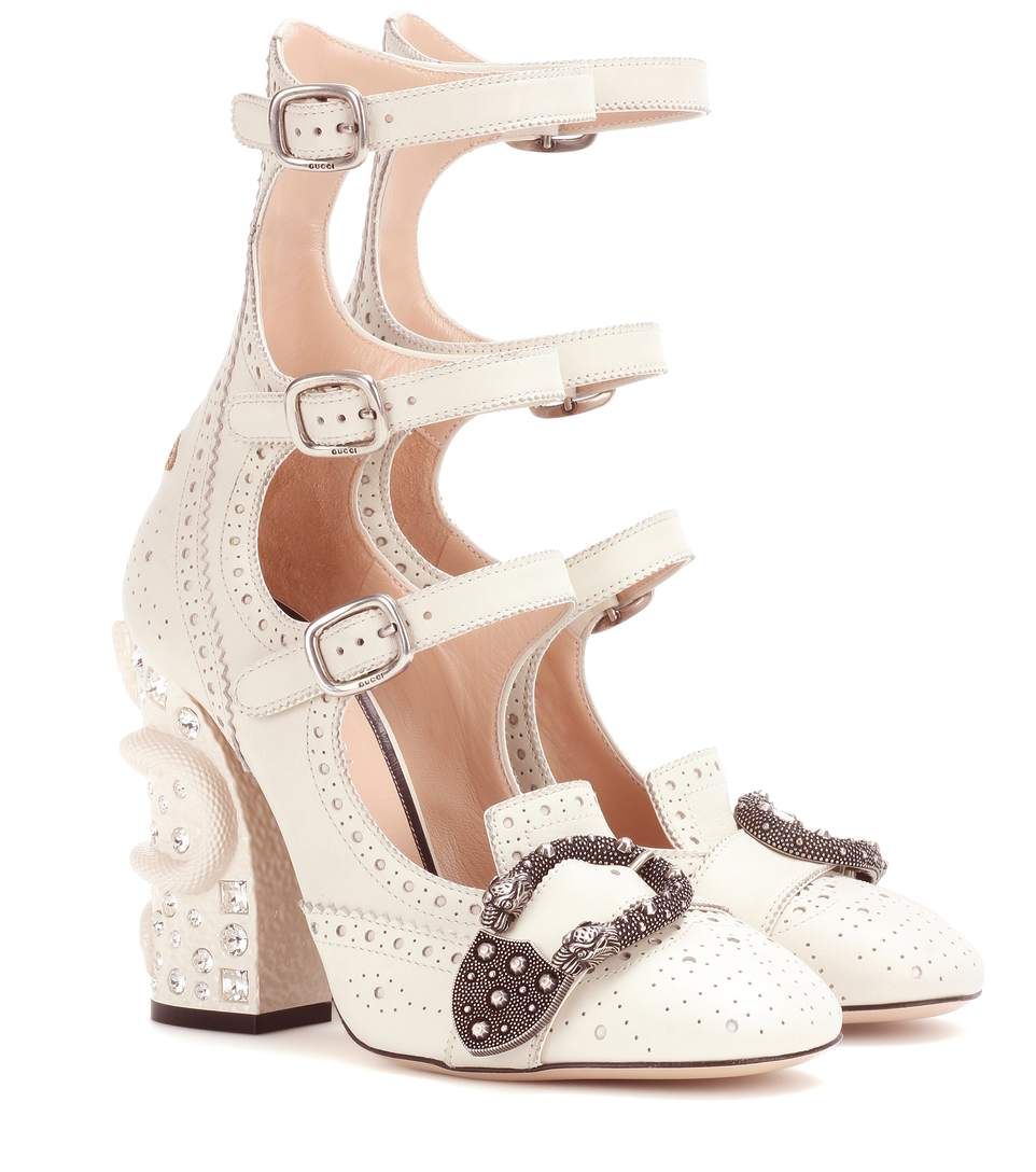 8767dd9e3be Gucci Queercore Snake Block Heel Buckle Leather Brogue Booties In White