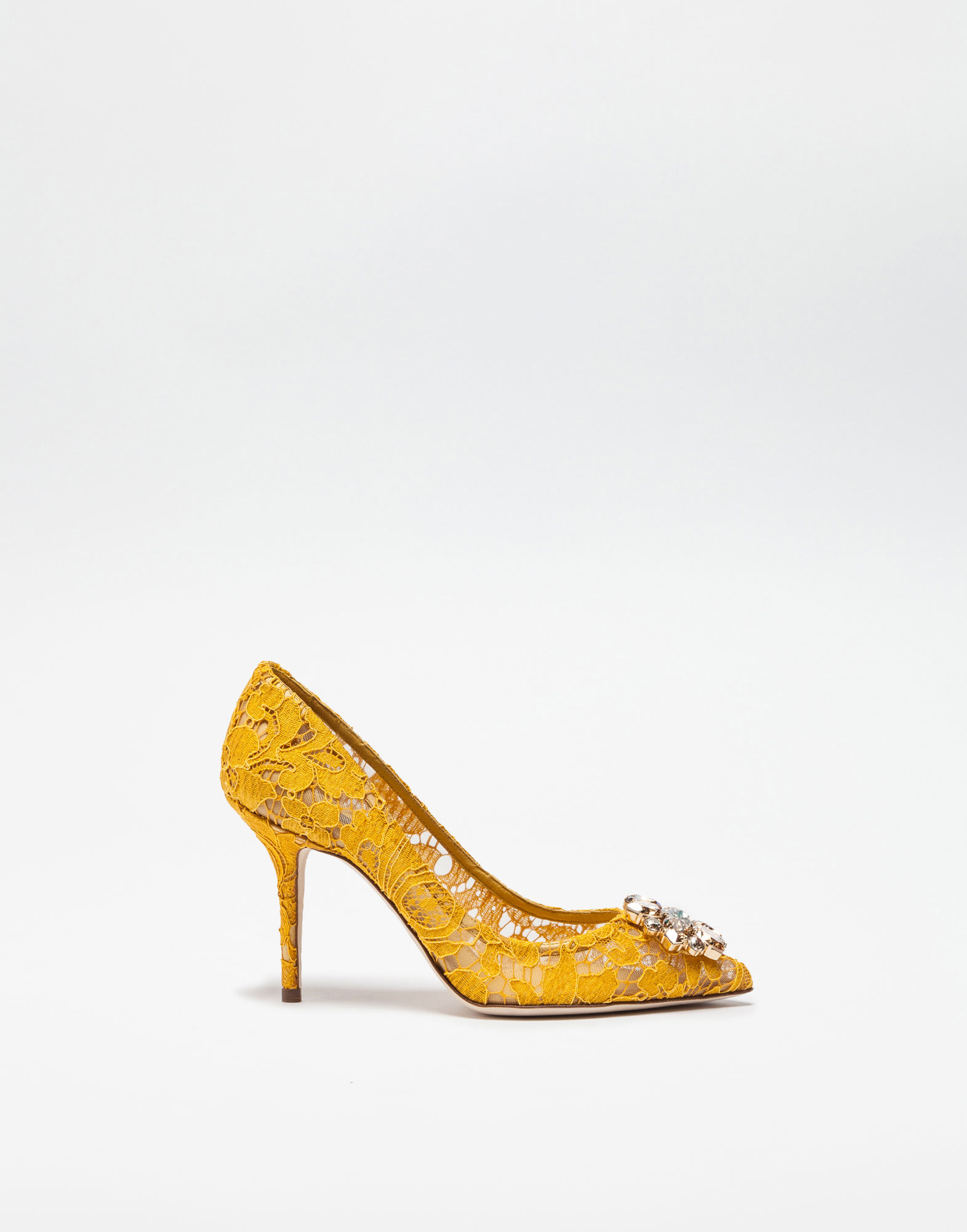 Dolce & Gabbana Belluci Crystal-embellished Lace Pumps In Yellow