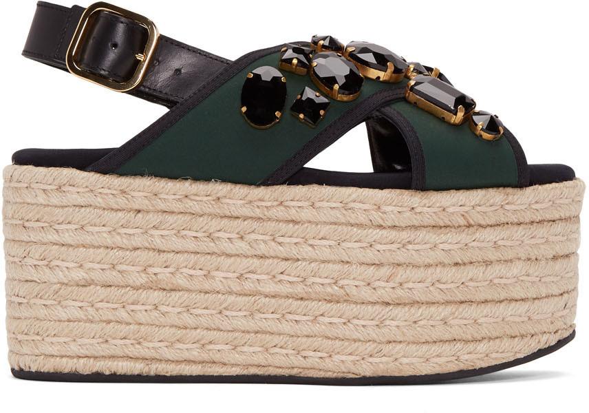 9145a2172520f Marni 60Mm Jeweled Espadrille Flatform Sandal