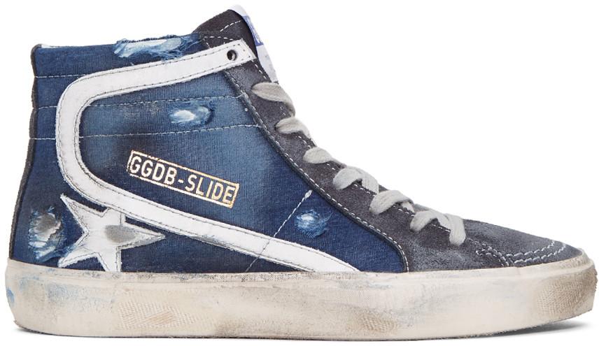 Golden Goose Navy Slide High-top Sneakers In Blue