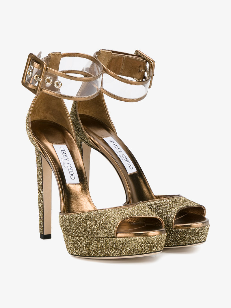 48c4ee0fa9fb Jimmy Choo Mayner Glitter   Pvc Platform Sandals In Metallic