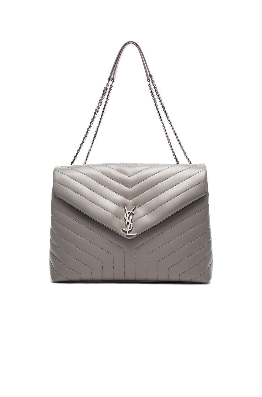 53af4a0c48 Saint Laurent Medium Loulou Chain Bag In Pearl Grey