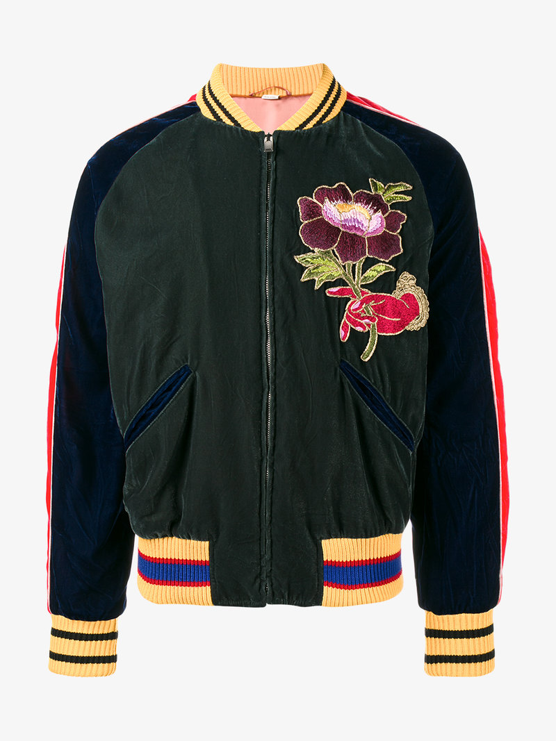 b903a1912 GUCCI GREEN EMBROIDERED BOMBER JACKET