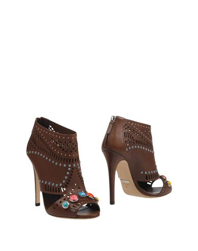 Gucci Embellished Open-toe Leather Ankle Boots In Nut
