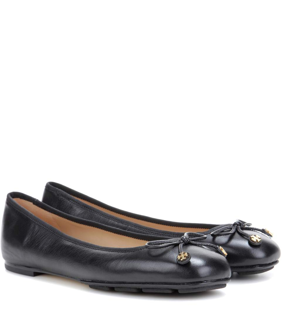 97d16263262 Tory Burch  Laila Driver  Bow Leather Ballerina Flats In Black ...