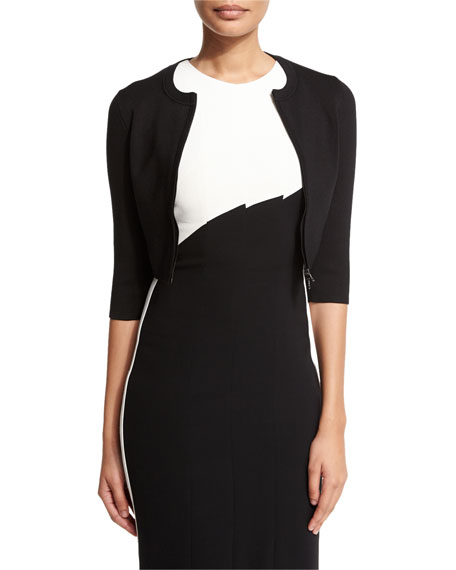 Narciso Rodriguez Cropped Zip-front Wool-blend Cardigan, Black
