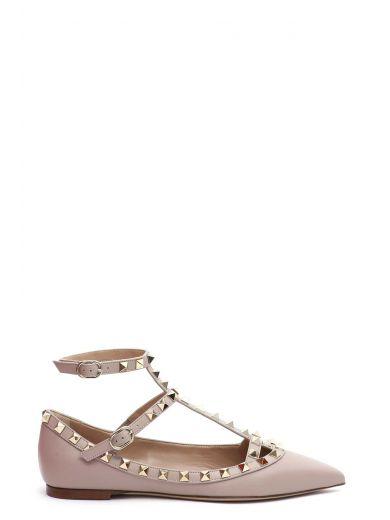 Valentino Garavani Rockstud Metallic Grainy Calfskin Ankle Strap Ballet Flat In Gold