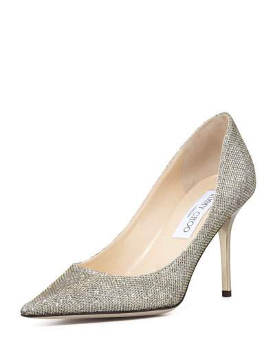 c4703034ef78 Jimmy Choo Romy 100 Light Bronze LamÉ Glitter Pointy Toe Pumps ...