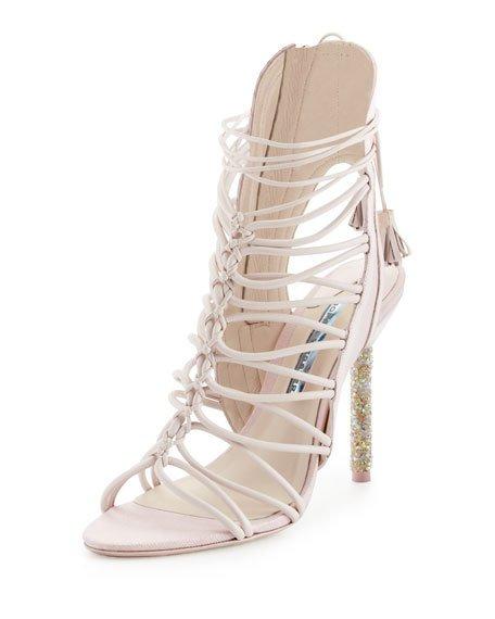 Sophia Webster Lacey Crystal-Embellished Leather Sandals In Pink