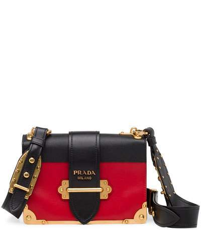 f7c57e7b2401e3 Prada Cahier Color Block Leather Shoulder Bag In Black | ModeSens