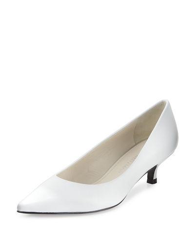 Stuart Weitzman Poco Leather Kitten-heel Pump, White In White Satin
