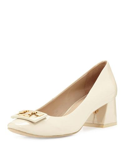 88a03955e40 Tory Burch Gigi Dulce De Leche Soft Patent Leather Mid-Heel Pump In Nude