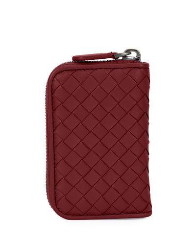 Bottega Veneta Intrecciato Mini Zip-around Wallet/coin Purse, Pacific In Barolo