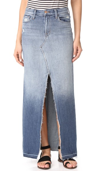 e209c0725e J Brand Trystan Distressed Denim Maxi Skirt In Blue | ModeSens