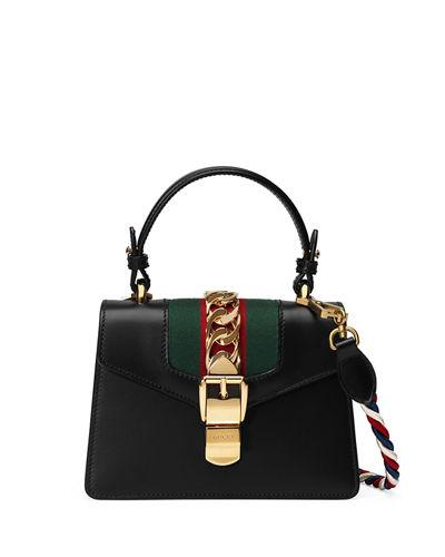 2deab572eb2 Gucci Sylvie Mini Chain-Trimmed Leather And Canvas Shoulder Bag In Black