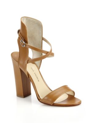 Paul Andrew Lexington Leather Sandals In Tan