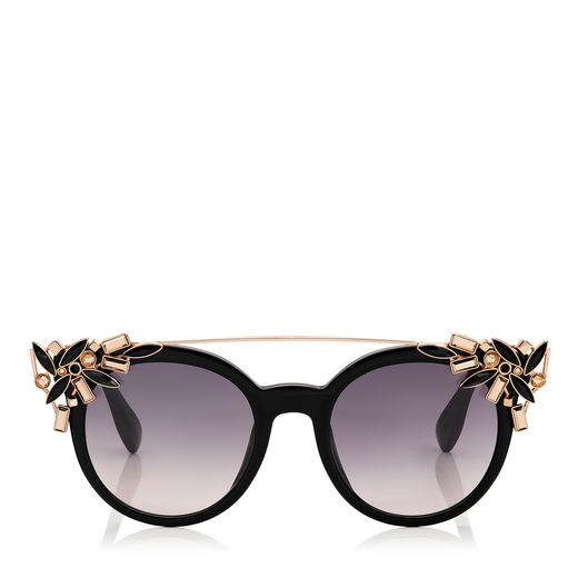 e7e398c49f022 Jimmy Choo Vivy S 51 Black And Gold Round Framed Sunglasses With Detachable  Jewel Clip