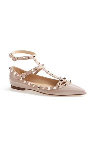 Valentino Rockstud Metallic Grainy Calfskin Ankle Strap Ballet Flat In Gold