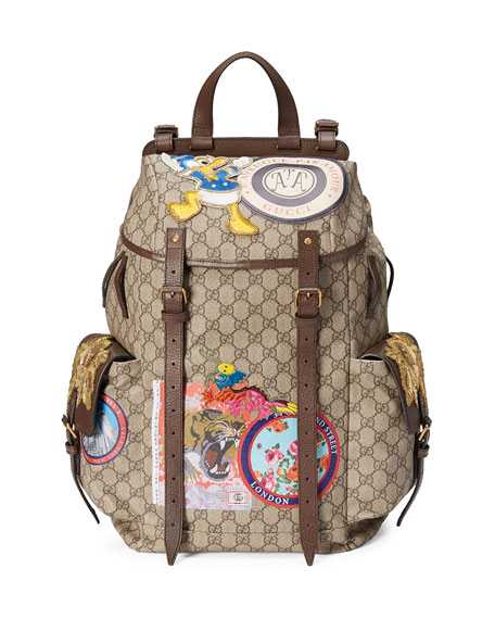 a3c743b9990acc Gucci Gg Supreme Backpack With Patches, Beige/Brown In Soft Gg Supreme
