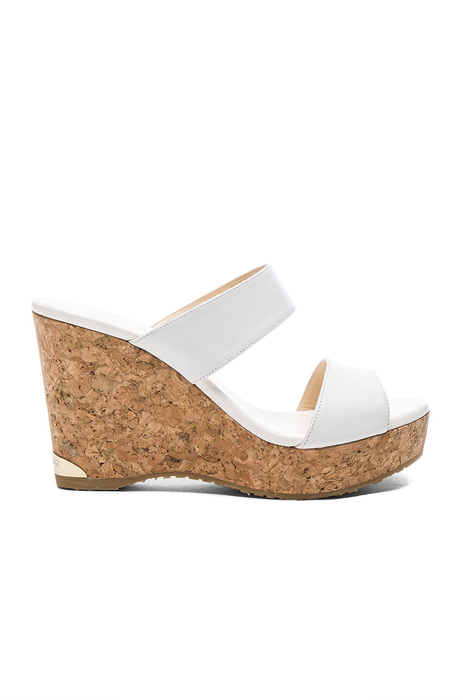 6551709ace3 Jimmy Choo Parker Two-Band Cork Wedge Sandal In White