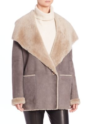 Vince Hooded Shearling Coat In Grey/taupe